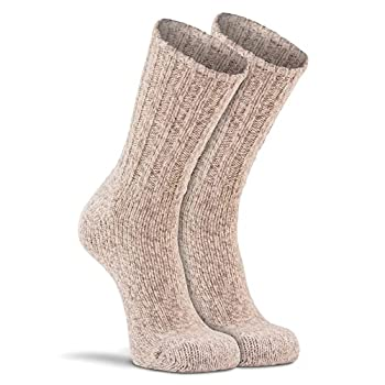 Fox River Norsk Ragg Wool Crew Hiking Socks Classic Heavyweight Men's Wool Socks for All Weather Outdoor Adventures - Brown Tweed - Large