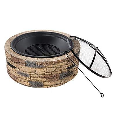Sun Joe SJFP35-STN Cast Stone Base, Wood Burning Fire Pit w/Dome Screen and Poker