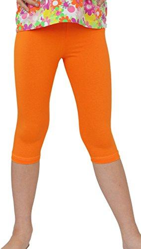 Kinder / Mädchen 3/4 kurz Leggings aus Baumwolle (104, Orange)
