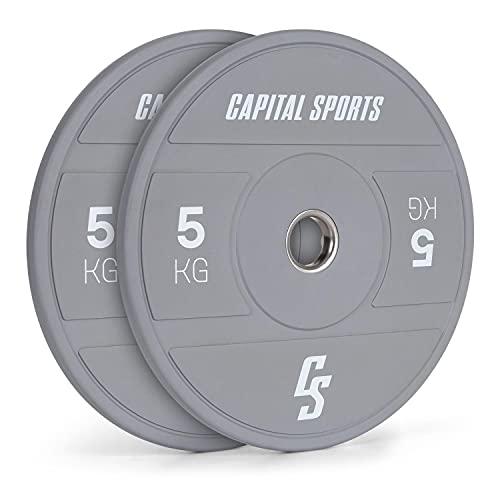 Capital Sports Nipton 2021 Bumper Plate - Dischi per Bilanciere, Anello Interno in Acciaio, Apertura di Attacco 50,4 mm, Gomma Dura, 2 x 5 kg, Grigio