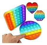 4 Brinquedos Fidget Push Pop It, com material de grau alimentício da FDA, brinquedos sensoriais Pop Its Bubble Fidget para alívio de estresse e ansiedade, brinquedo para crianças e adultos (Quadrado, Circulo , Octagono , Coração)