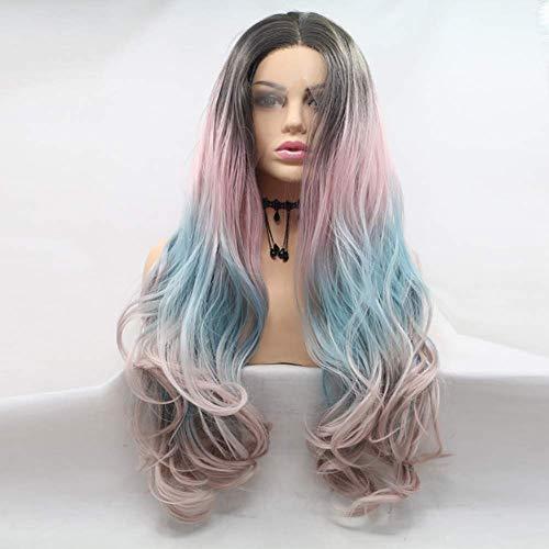 Lange Golvend Haar Grijs Half Roze Half Blauw Kant Voor Pruiken voor Vrouwen Dames Party Make-up Cosplay Zeemeermin Kleur Synthetische Pruik