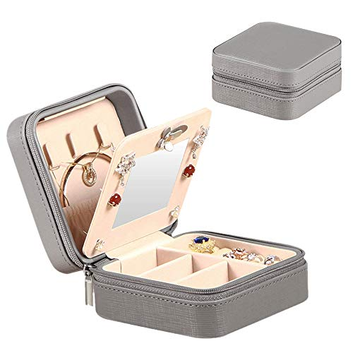 storage travels YAPISHI Travel Jewelry Case for Girls Women, Portable Storage Jewelry Box with Makeup Mirror, Small Jewelry Organizer for Earrings Necklace Rings Bracelet Watch Cosmetic, Leatherette Grey Display Case