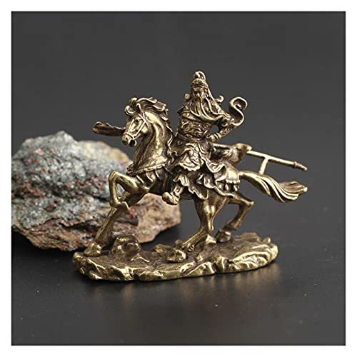 Adornos para el salpicadero del coche Brass Chinese God of Wealth Riding Horse Guan Gong Estatua de la decoración del hogar Accesorios de la decoración de la oficina de cobre adornos de decoración