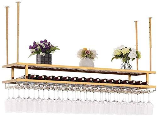 TUHFG Estantería de Vino Tenedor de Copa de Vino, Colgante de Vino de Copa de Vino Europeo de Oro de Doble Capa de Altura Ajustable para Barras Restaurantes Cocinas, 60 * 30 cm (Color : 80 * 30cm)
