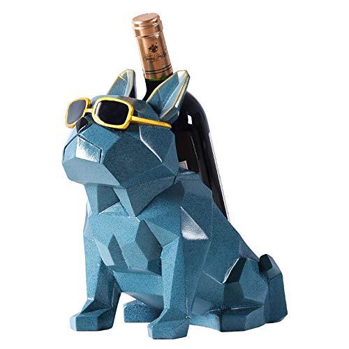 AMAZOM Estante para Botellas de Vino con Estatua de Bulldog de geometría Abstracta, Soporte para Vino de Resina Decorativa para Perro Pit Bull, exhibición de Barware, Regalo, Adorno Artesanal,Azul