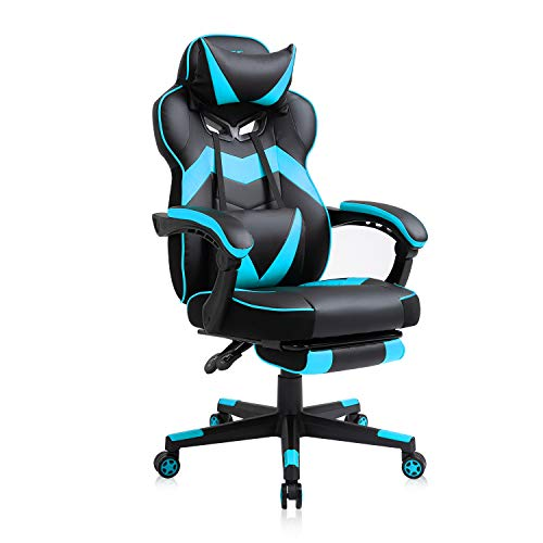 AJS Gaming Chair, Video Game Chair Ergonomic Task Racing Chair Adjustable Swivel PU Leather Office Chair, with Lumbar Support, Headrest, Padded Armrest and Retractable Footrest (Blue)