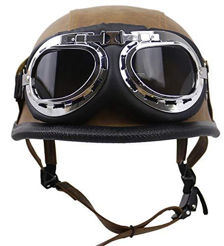 Casco De Moto Medio Casco Abierta De Estilo Vintage Con Gafas, Gorra De Calavera Certificación DOT Adecuada Para Chopper Biker Cruiser Scooter Touring Casco Half Helmet 1,L