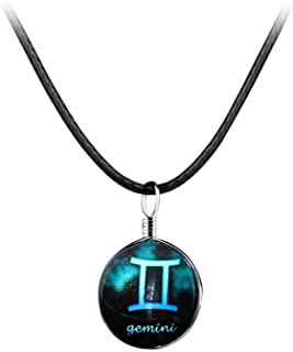 Twelve Constellation Time Gemstone Pendant Necklace Lucky Stone Long Leather Cord Sweater Chain for Women Men Couples Birthday Gift