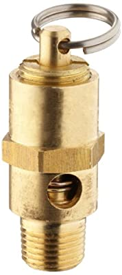 "Kingston KSV10 Series Brass ASME-Code Low Profile Safety Valve, 100 psi Set Pressure, 1/8"" NPT Male from Kingston Valves"