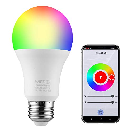 WIFZIG Smart Light Bulbs,Smart A19 Color Changing Bulb,Works with Alexa&Google Home,RGBCW 2700K-6500K,60 Watt Equivalent,Dimmable with App,E26 Base,No Hub Required,2.4GHz WiFi 1Pack