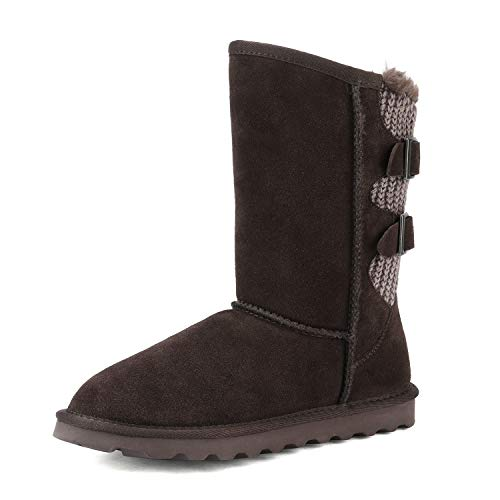 DREAM PAIRS Women's Brown Faux Fur Mid Calf Fashion Winter Snow Boots Size 9 M US Sweaty-Buckle