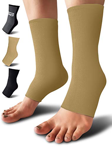 SB SOX Compression Ankle Brace (Pair) – Great Ankle Support That Stays in Place – for Sprained Ankle and Achilles Tendon Support – Perfect Ankle Sleeve for Sports, Any Use (Solid - Beige, Small)