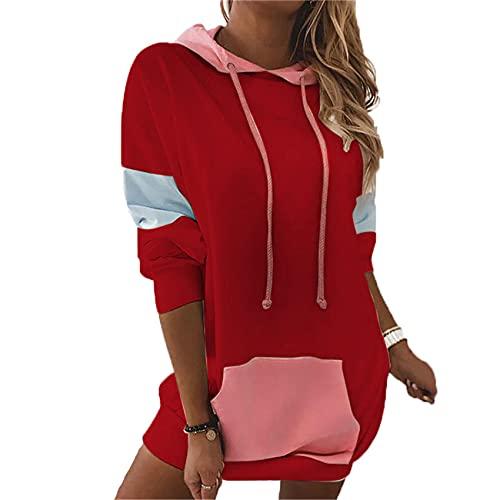 OtoñO/Invierno SuéTer con Capucha De Manga Larga para Mujer Camiseta con Costuras De Color En Contraste Mujer
