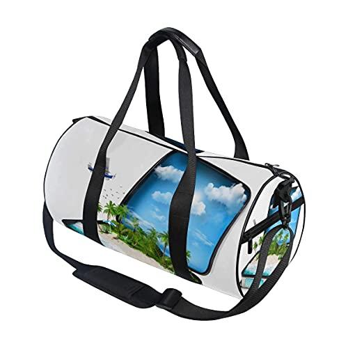 Bolsa de deporte para gimnasio, maleta abierta de viaje, con compartimento para zapatos y bolsillo húmedo para mujeres o hombres