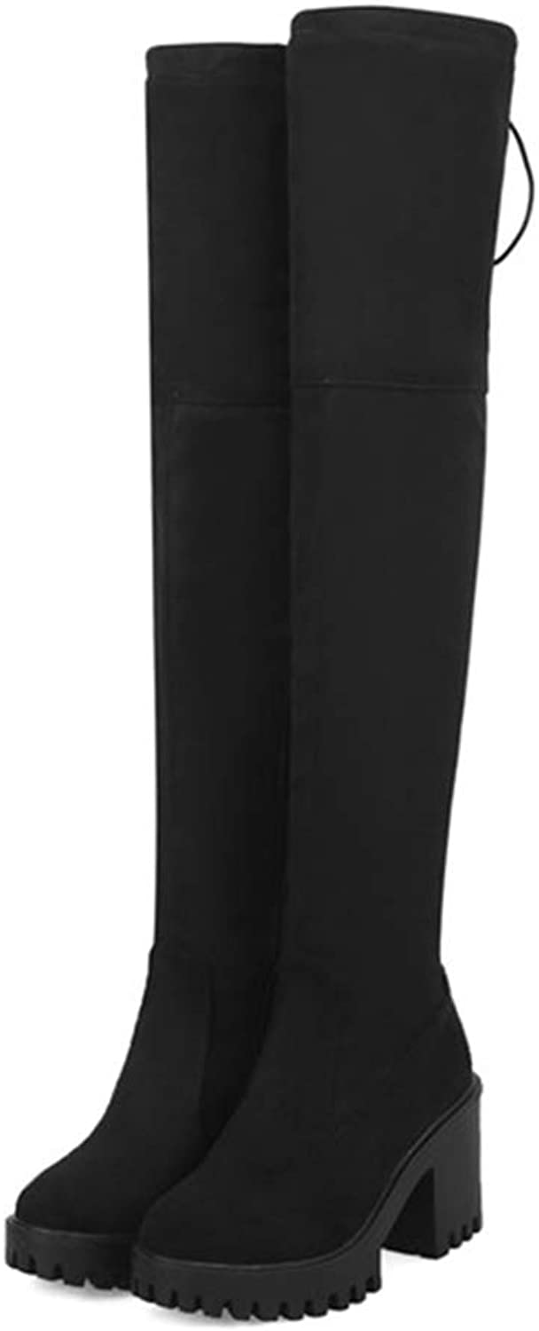 Over The Knee Boots for Women Round Toe Platform shoes Zipper Stretch Thigh High Non-Slip Lady Boot