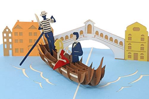 Favour Pop Up Glückwunschkarte zur Hochzeit. Ein filigranes Kunstwerk, dass sich beim Öffnen als Hochzeitspaar in Venedig entfaltet. TW041