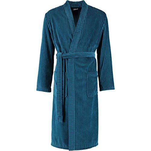 Cawö Home Bademantel Herren Kimono treifen 6518 Petrol - 14 L