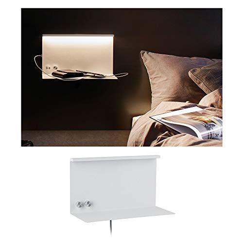 Paulmann 78919 LED Wandleuchte Jarina mit Ablage incl. 1x4,5 / 1x1,6 Watt dimmbar Wand-Leselampe Weiß Leseleuchte Metall Wandlampe 3000 K, 4.5 W