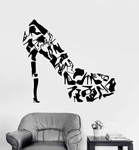 47x42cm zapatos de tacones altos vida calzado creativo mujeres pegatinas de pared calcomanías de arte DIY