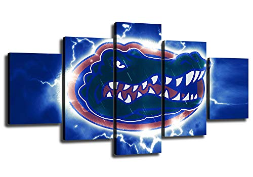 Florida Gators Football Wall Decor Art Paintings 5 Piece Canvas Picture Artwork Living Room Prints Poster Decoration Stretched and Wooden Framed Ready to Hang [60
