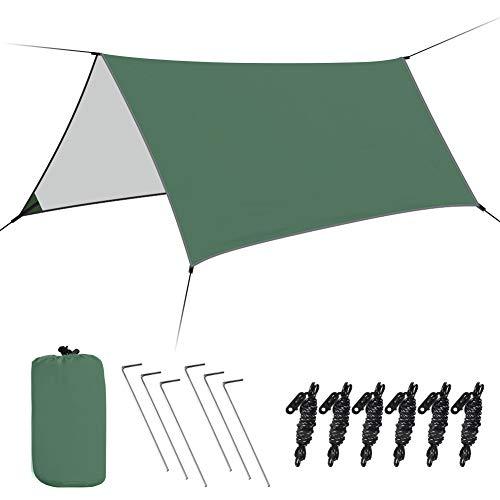 Haibei防水タープ タープテント サイドシート 軽量 高耐水加工 紫外線カット 遮熱 屋外 キャンプ 旅行 天幕 アウトドア 収納ケース付 300*300CM