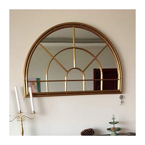Mirror-DJJJZ Arco Espejo de Pared Arco rústico Jardín del Espejo for Interiores y Exteriores Uso, Blanco Antiguo de Montaje en Pared de Metal Espejo de la Ventana, Grande 80cm x 60cm