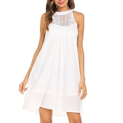b0085f9b68db Gumod Women s Chiffon Dress Summer Sleeveless Lace Patchwork Halter Beach  Dress Sundress
