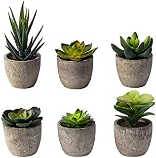 6 Pots Small Artificial Succulent Plants Mini Fake Faux...