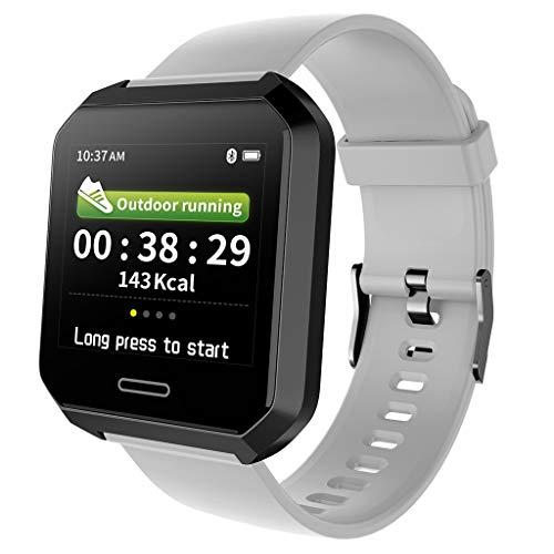 Fitness Tracker Gesundheits Fitness Smartwatch Wasserdicht IP68 Fitness Armband mit Pulsmesser Farbbildschirm Aktivitätstracker Pulsuhren Schrittzaehler Uhr (Grau)