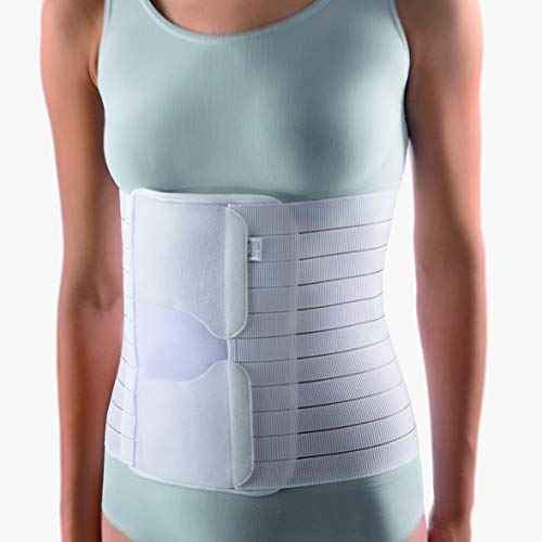"""BORT 104150 PostOban® Thorax Abdominal Support Binder Post-Operative, Post Pregnancy, Abdominal Injury Post-Surgical Abdominal Binder Bariatric Belly Plus Size Made in Germany (White, Size 3/10.2"""")"""