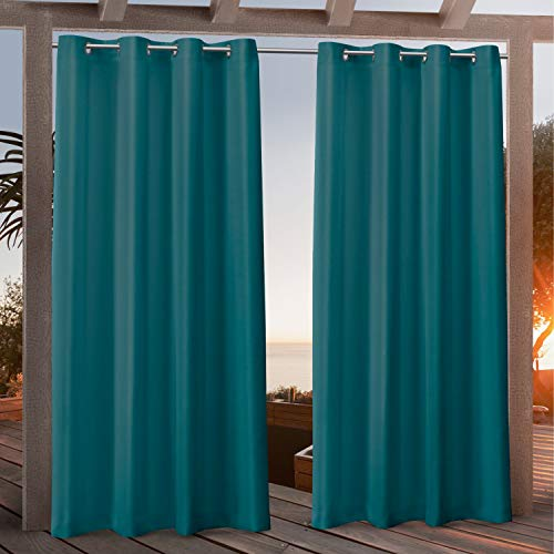 Exclusive Home Curtains Canvas Indoor/Outdoor Grommet Top Curtain Panel Pair, 54x84, Turk Teal