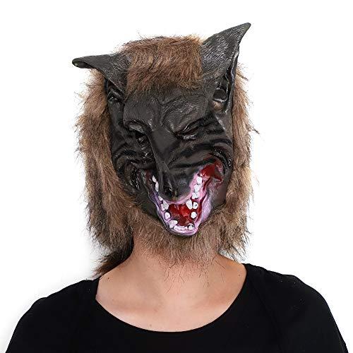 Qchomee Pferdemaske für Halloween Latex Tiermaske Erwachsene Pferdekopf Pferd Kostüm Einhorn Kopf Beauty Pferdmaske für Weihnachten Karneval Party Dekoration (Wolf 3, Eine Größe)