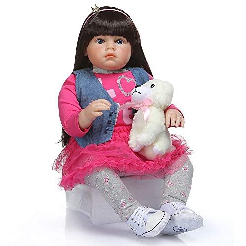 DERUKK-TY Muñecas Reborn 28 Pulgadas 70 cm de Aspecto Real Princesa bebé niña niño de Silicona Suave niña Reborn Juguetes de Pelo Largo