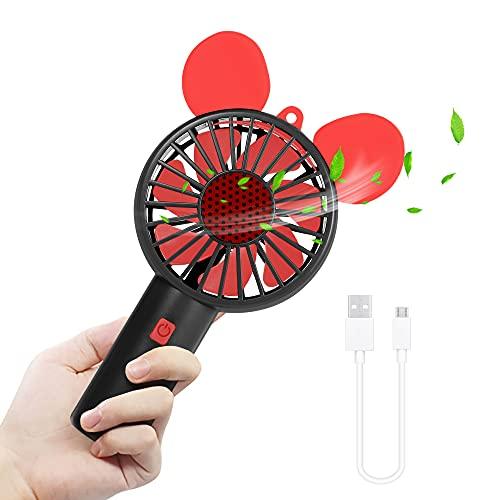 Mini USB Ventilator Handventilator klein Lüfter mit Cartoon Design, 3 Geschwindigkeiten Handy Ventilator batteriebetrieben, tragbarer Ventilator to go Akku Fan für Reisen, Zuhause, Büro, Camping