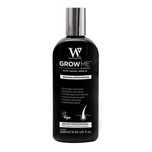 Watermans Grow Me Shampoo - Miglior crescita dei capelli shampoo solfato libero, caffeina, Biotina, olio di argan, Allantoina, rosmarino. Stimola la ricrescita dei capelli, aiuta a fermare la perdita di capelli, capelli crescono in fretta, perdita di capelli trattamento per uomini e donne