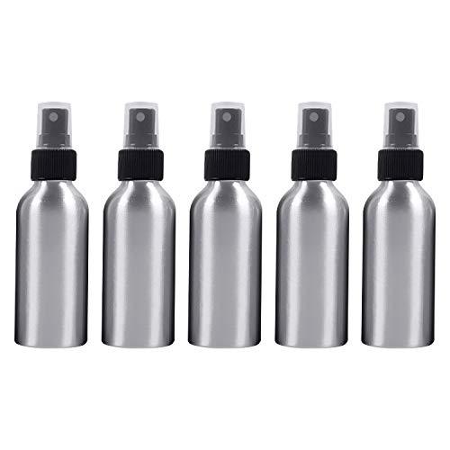 Botella vacía de Viaje cosmético 5 PCS Vidrio Recargable Botella de Aluminio, 120 ml (Color : Black)