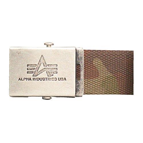 Alpha Industries Belts: Heavy Duty Belt 4 cm woodland camo, size 120cm