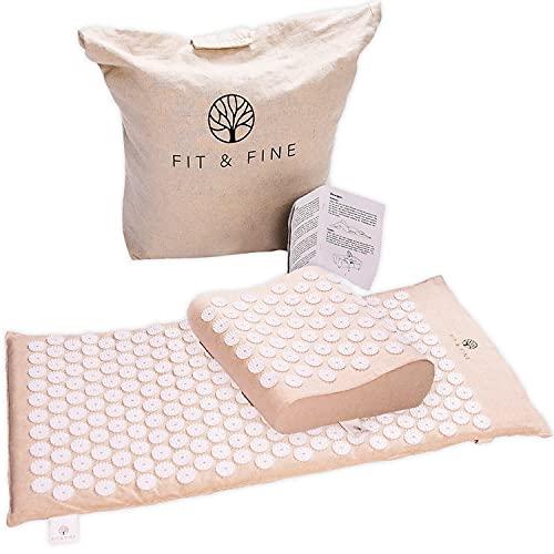 FIT & FINE Akupressurmatte (88x44x2cm) mit ergonomischem Kissen: extra-lange Massage-Matte aus Kokosfaser zur Entspannung von Rücken und Nacken inkl. Tragetasche