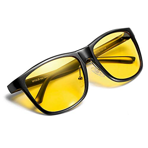 Myiaur Night Vision Glasses for Driving Yellow Lens Anti-glare Cloudy/Rainy/Foggy/Nighttime (Black/Yellow)