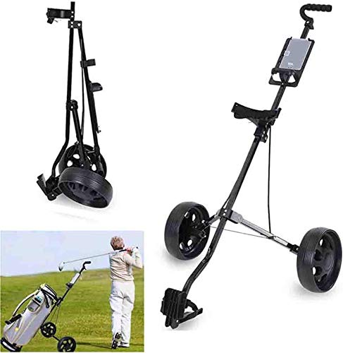 FFKL Golf Cart 2 Wheel Trolley Swivel Folding Pull Push Golf Cart New Golf Push Carts Easy to Open and Close for Outdoor Travel Home Sport Exercising,Black