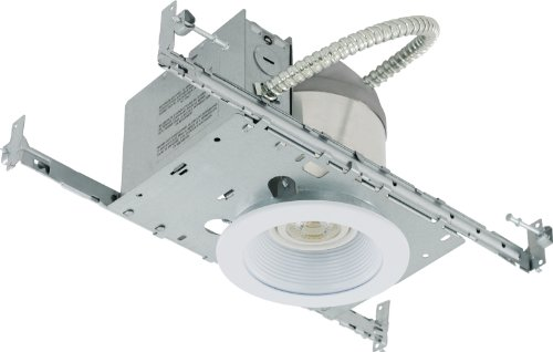 Liteline RC40101-LED-PC-FWH All-in-One 4-inch LED Recessed Combo with New Construction Housing, 8W LED PAR20 lamp, Baffle Trim, Flat White
