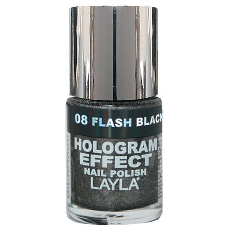 ステンレス今晩祝うLayla Cosmetics Hologram Effect Nail Polish Flash Black 10ml