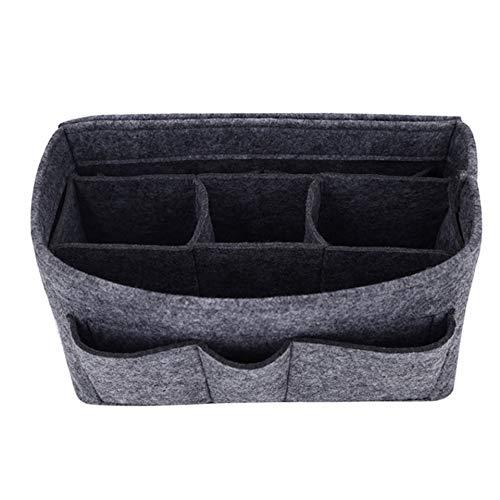 Handtaschen-Organizer – 2 in1 Filz Geldbörse Organizer Einsatz mit Innentasche mit Reißverschluss - Taschen Organisator - Grau Mittel