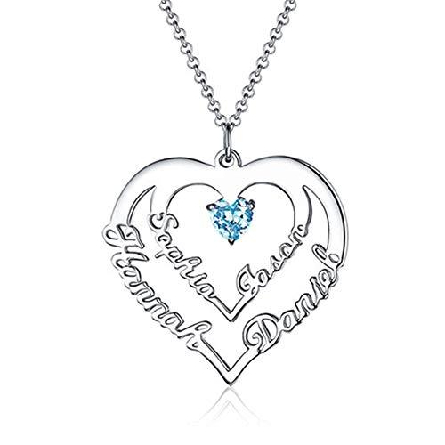 Stɑy Real Herz Halskette 4 Namen 925 Silber Personalisierte Geburtsstein Anhänger Geschenk für Freundin Familie (Silber,45cm)
