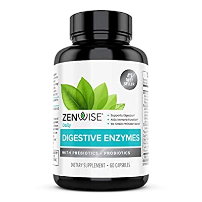 Zenwise Health Digestive Enzymes Plus Prebiotics & Probiotics - Natural Support for Better Digestion & Lactose Absorption - for Bloating & Constipation + Gas Relief