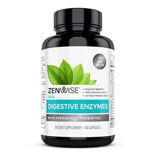 Zenwise Health Digestive Enzymes Plus Prebiotics & Probiotics Supplement, Vegan Formula for Better...