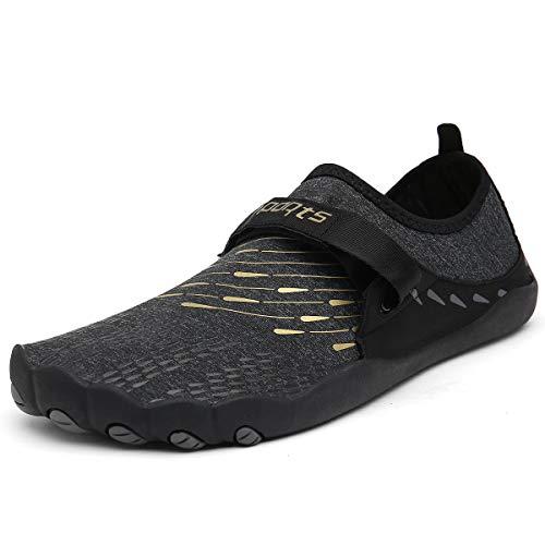 ZOEASHLEY Herren Damen Wandern Barfußschuhe Trekking Schuhe Sommer Ultraleicht Outdoor Fitnessschuhe mit Rutschfest Weiche Sohle Gr.36-46, Black, 46 EU