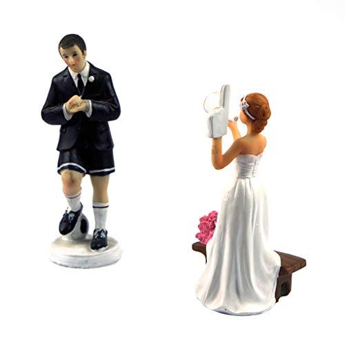 Guangcailun Decorazioni Coppia Gioco Calcio Figurine Wedding Cake Topper Regalo Doll Figurine Sposa Sposo Resina Mestieri del Partito