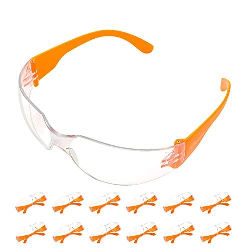 Pack 12 Gafas Protectoras Trabajo con Lentes Transparentes Antivaho - Gafas Proteccion Resistentes Cómodo y Ligero Para Construcciones, Laboratorio, Jardín SG001 ✅